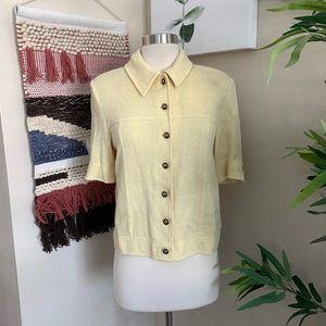 ST. JOHN▪️Buttonfront Santana Knit Shirt Top. Sz 8